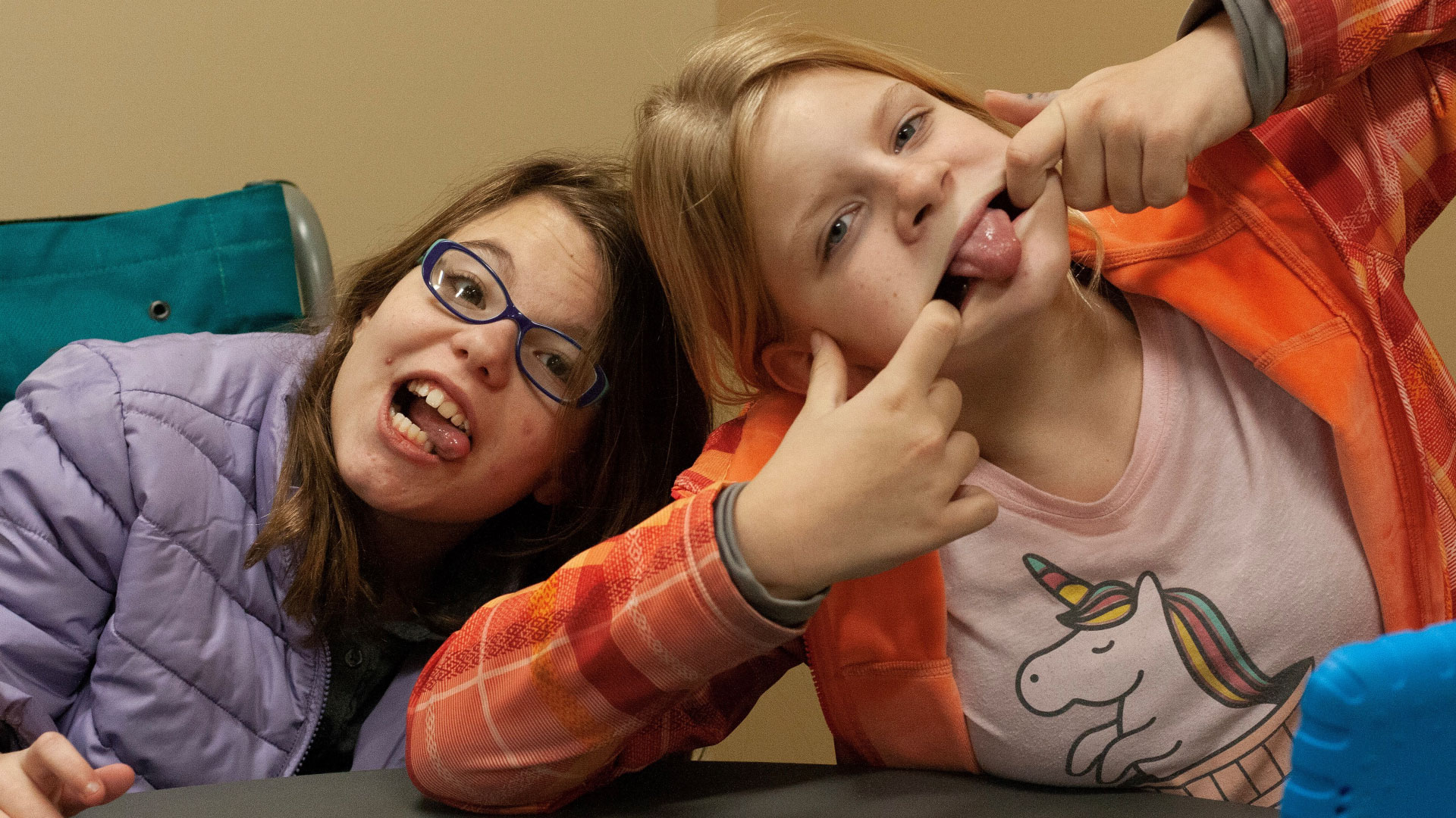 Two special friends acting silly and having fun at Brookwood Church
