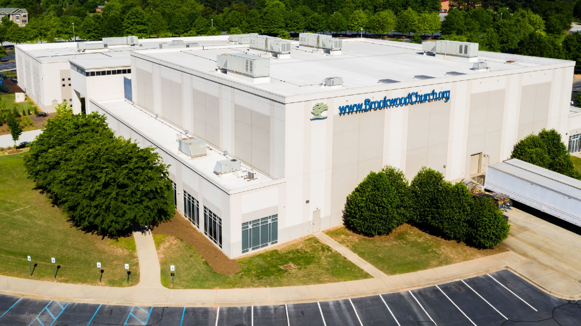 An aerial view of the Brookwood Church building